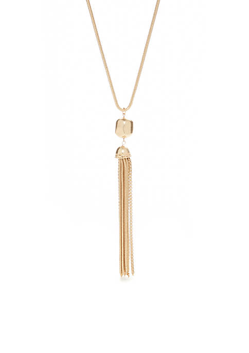 Gold-Tone Long Nugget With Chain Tassel Necklace
