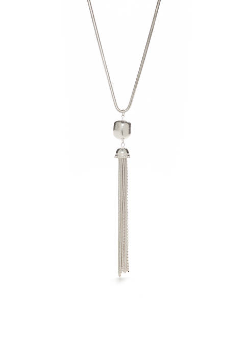 Silver-Tone Nugget With Chain Tassel Necklace