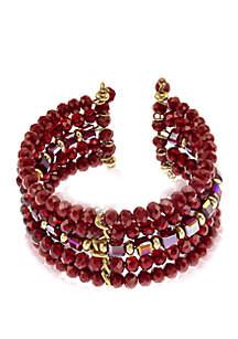 Gold-Tone Beaded Coil Bracelet