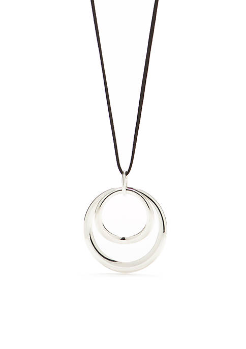 Double Open Ring Pendant Necklace