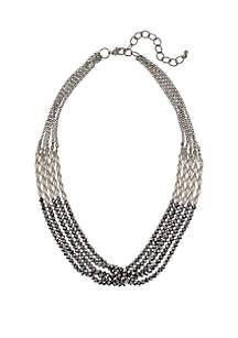 Hematite-Tone 5-Row Short Necklace