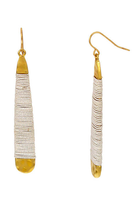 Belk Elongated Gold Tone Teardrop Earrings with Silver