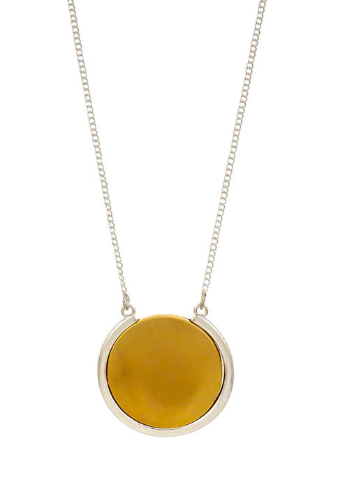 Belk Two Tone Long Rimmed Circle Pendant Necklace