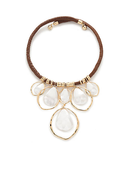 Two-Tone Brown Leather Collar Necklace