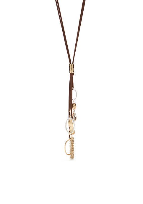 2 Tone Tassel Drop Necklace