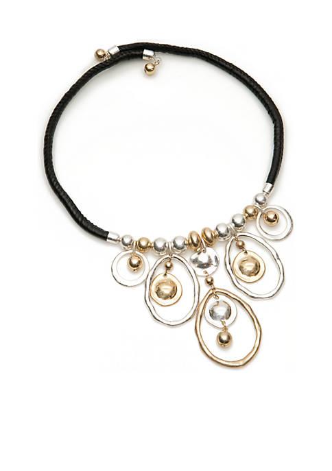 Leather Collar 2-Tone Drop Necklace