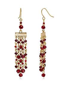 Gold-Tone Beaded Chandelier Earrings