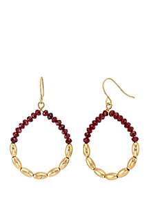 Gold-Tone Beaded Open Gypsy Hoop Earrings