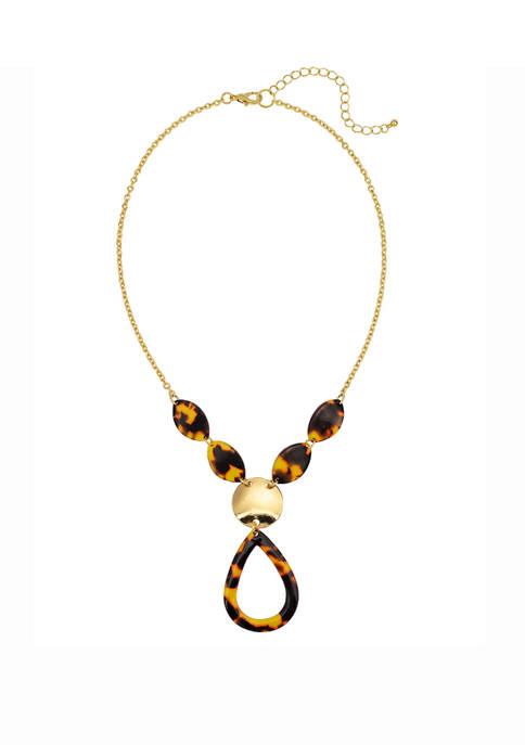 Tortoise Open Teardrop Pendant Short Necklace