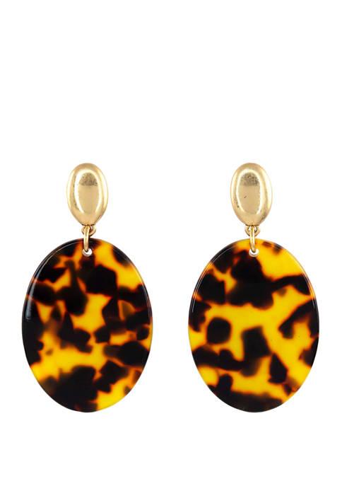 Belk Gold Tone Tortoise Pattern Oval Drop Earrings