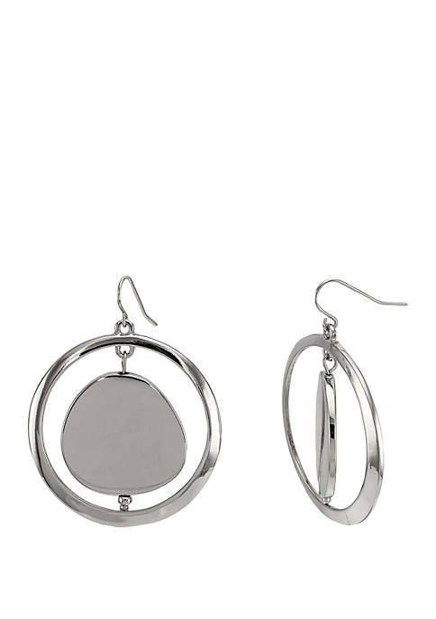 Open Circle Disc Center Earring