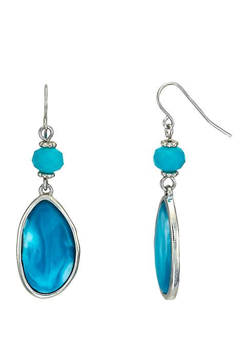 Silver Tone Resin Cabochon Bead Drop Earrings