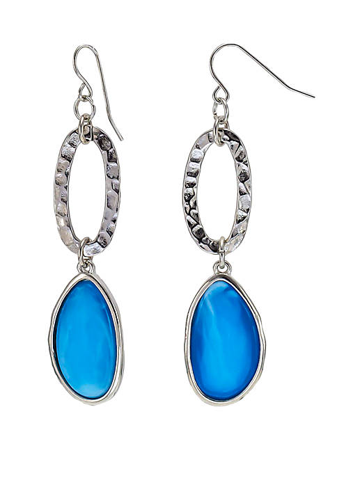 Hammered Link Double Drop Resin Earrings