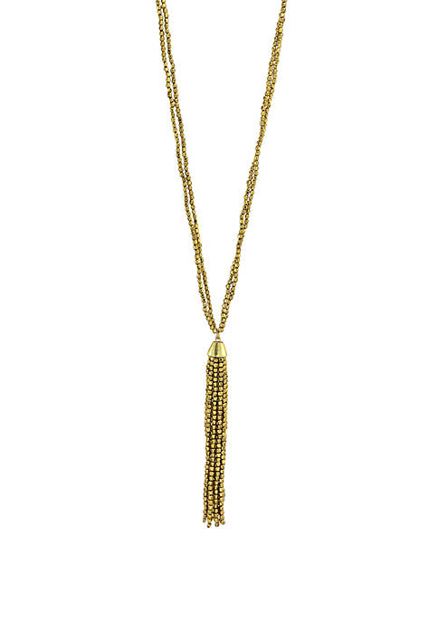 Gold Tone Long Seed Bead Tassel Necklace