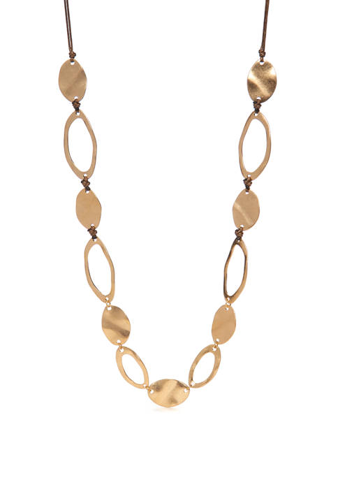Long Gold Tone Organic Oval Link on Leather Necklace