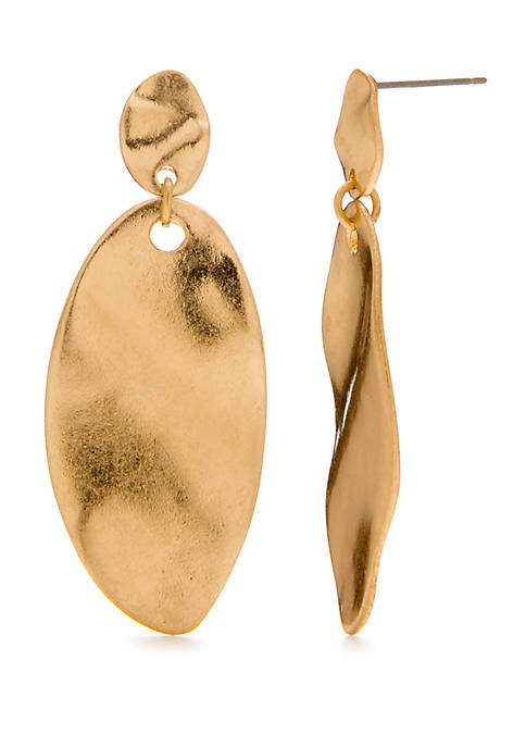 New Directions® Gold Tone Organic Oval Drop Earrings