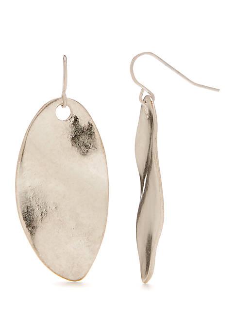 Silver Tone Organic Oval Drop Earrings