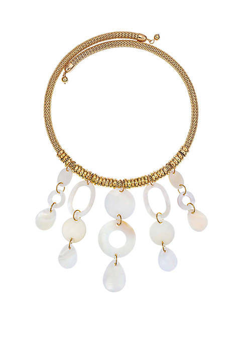Mesh Coil Lined Shell Drop Necklace