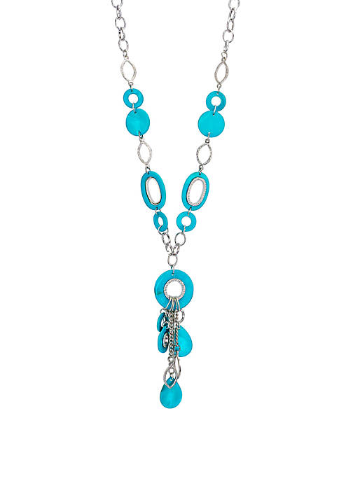 Long Shell Link Necklace With Tassel