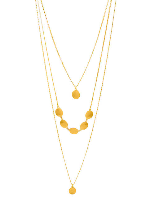 Gold Tone Triple Hi Low Necklace with Drops