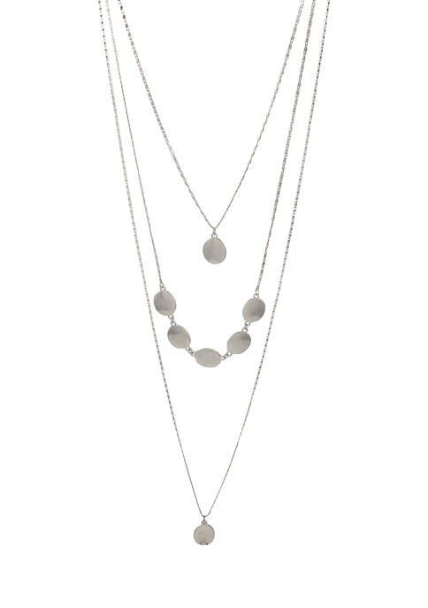 Silver Tone Triple Strand Hi Low Necklace with Drops