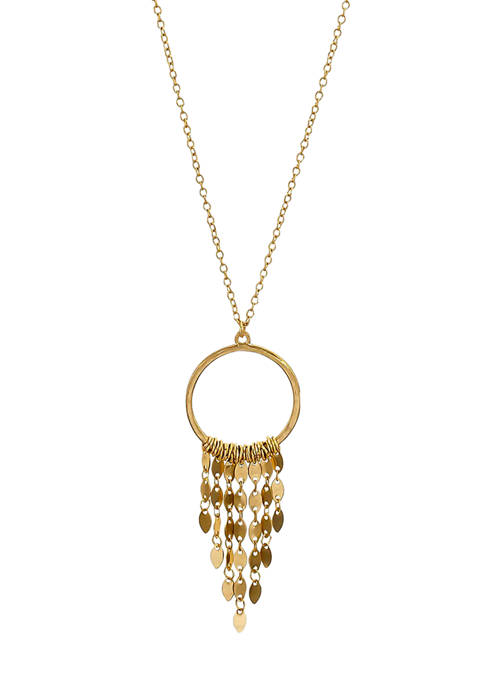 Gold Tone Long Open Ring Pendant Necklace with Linked Disc Fringe