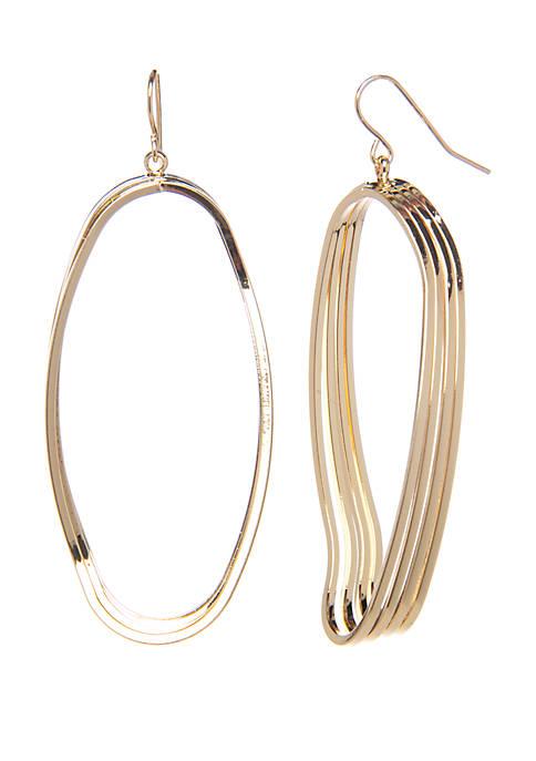 Belk Gold Tone Triple Open Oval Drop Earrings