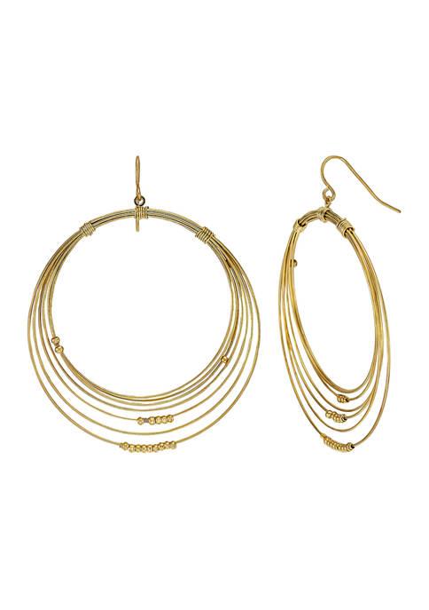 Belk Gold Tone Thin Wire Multi Gypsy Hoop