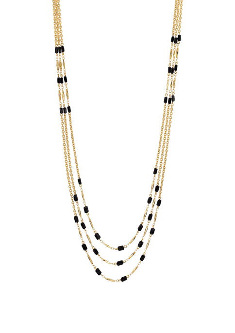 Long 3 Row Station Bead Necklace