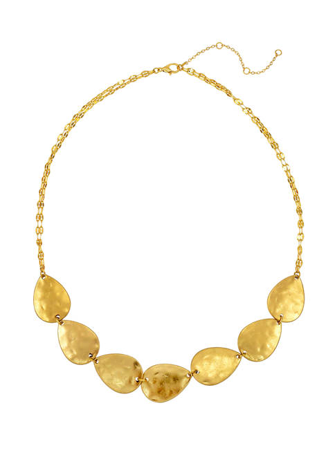 Gold 7 Part Disc Frontal Necklace