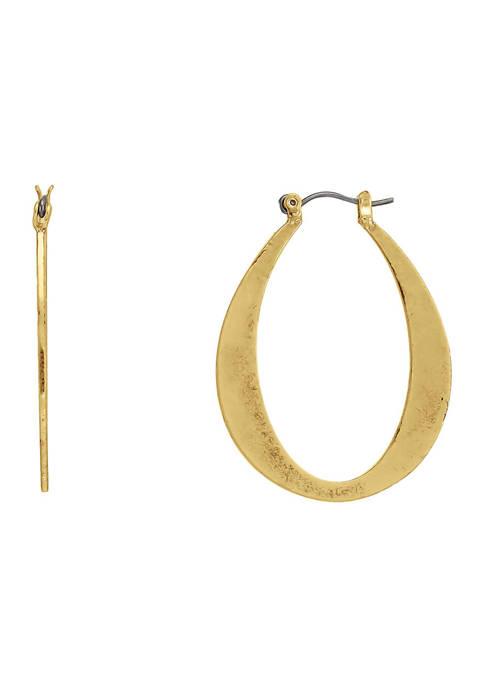 Belk Gold Tone Click Flattened Oval Hoop Earrings