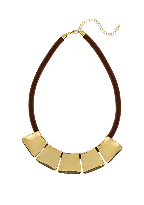 Shiny Gold 5 Part Frontal Cord Necklace