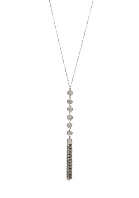 Belk Silver Tone Long Disc Necklace with Chain