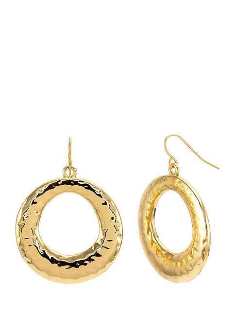 Hammered Gold Donut Drop Earrings