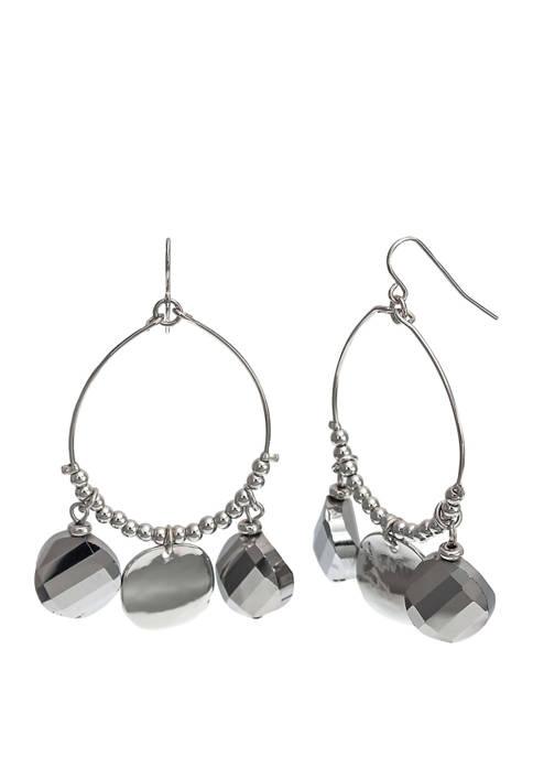 Beaded Open Wire Hoop Earrings