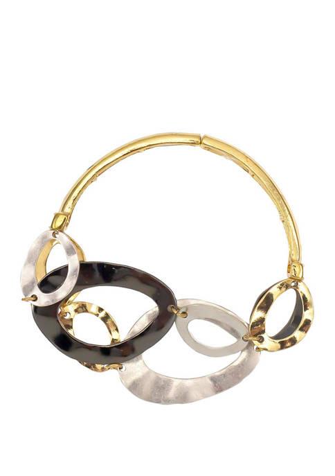 Tri Tone Stretch Bangle With Links Bracelet