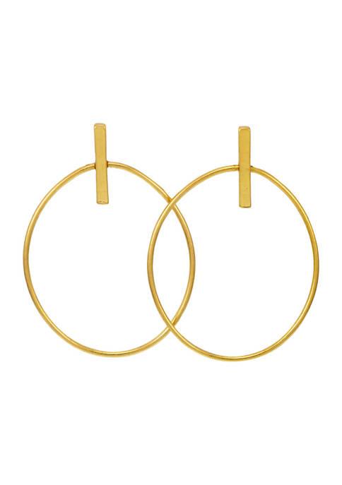 Belk Gold Large Open Oval Pose Drop Earrings