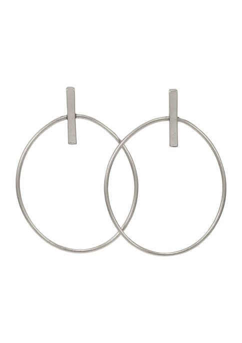 Belk Silver Large Open Oval Pose Drop Earrings