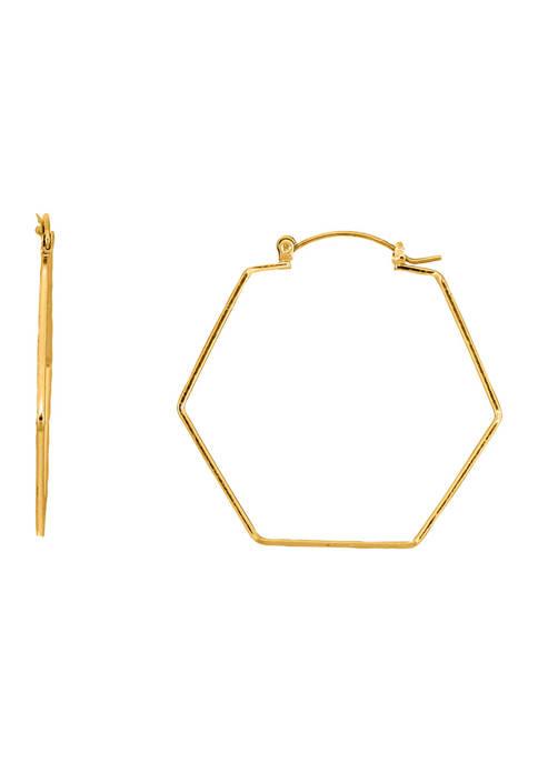 Belk Gold Tone Six Sided Hoop Earrings