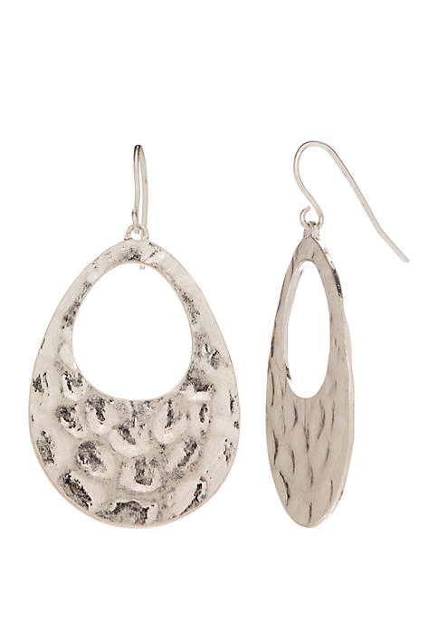 New Directions® Silver Tone Hammered Cutout Teardrop Earrings