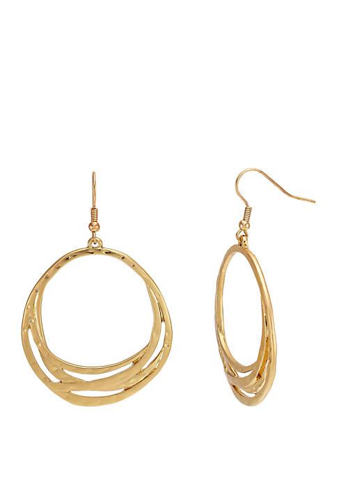 Gold-Tone Open Layered Gypsy Hoop Earrings