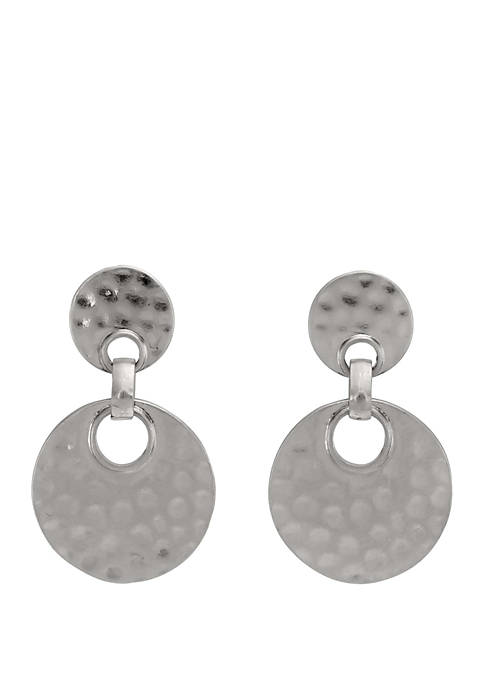 Silver-Tone Hammered Circle Drop Earrings