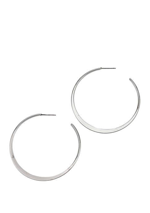 Flat Edge Post Hoop Earrings
