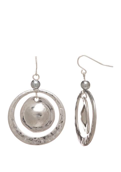 New Directions® Silver Tone Open Ring Drop Earrings