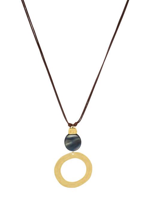 Long Open Circle Stone Pendant Necklace