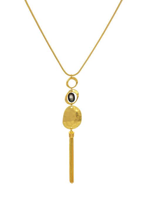 Long Triple Disc Pendant Necklace