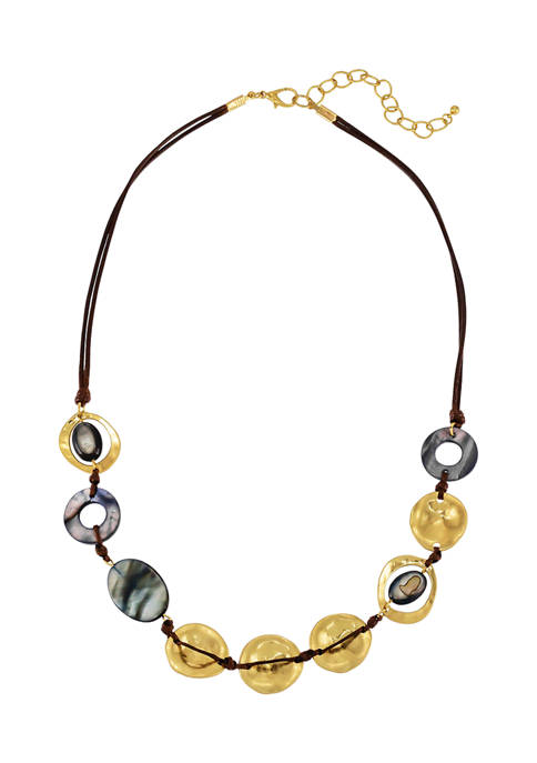 Hammered Disc Bead Necklace