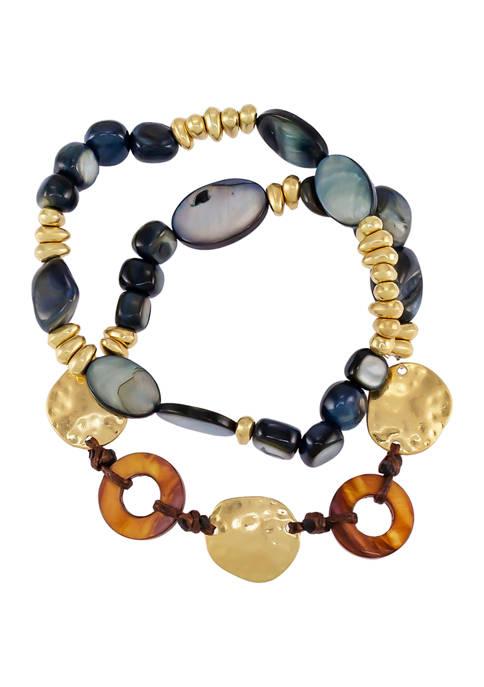 Two Row Mixed Bead Bracelet