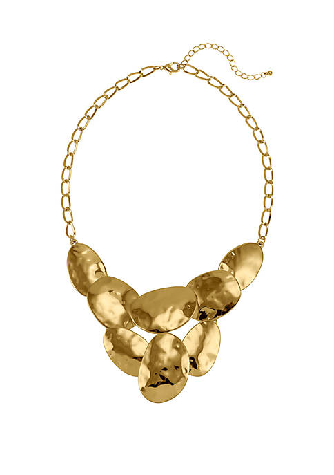 Shiny Hammered Gold-Tone Frontal Necklace
