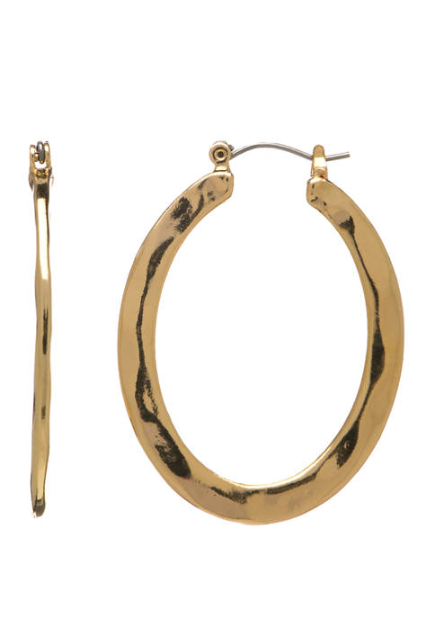 Shy Gold Hammered Oval Hoop Earrings